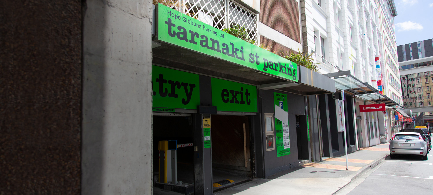 Central parking in wellington – Taranaki st parking – Entrance